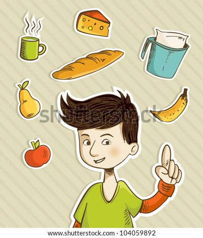 Cartoon boy shows healthy food for breakfast: apple, banana, pear, cheese, bread, coffee and milk. Vector file layered for easy manipulation and custom coloring.