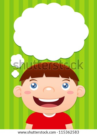 Cartoon boy thinking with white bubble for text