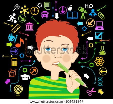 Cartoon boy with a pencil in his mouth surrounded by icons of education.