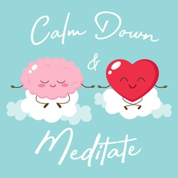 Cartoon brain and heart meditating. Calm down and meditate. Relax body and mind illustration. Mental health concept