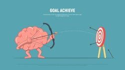 Cartoon brain character shoots or aiming at the target. Business concept goal achieve. Vector illustration in flat style.