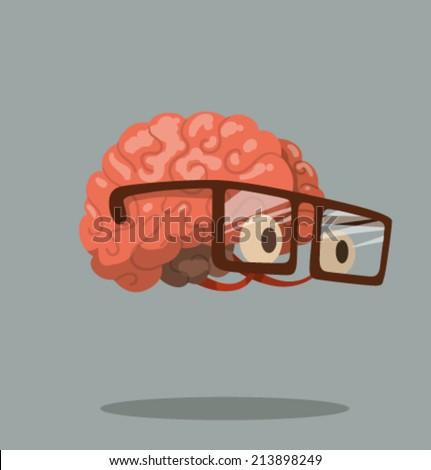 cartoon brain  vector