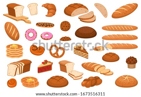 Cartoon bread. Various sweet breads and slices of bake roll or pastry, bakery product vector isolated cartoon set
