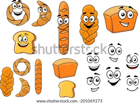 cartoon breads with happy
