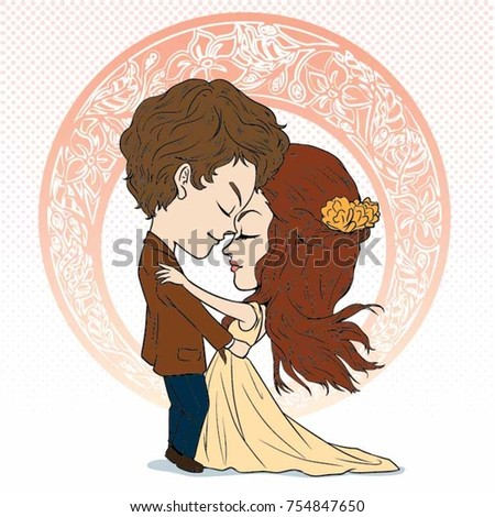 cartoon bride and groom hug