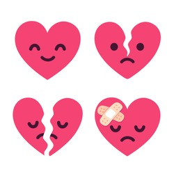 Cartoon broken heart fixed with bandage. Cute sad face character set, breakup and heartbreak vector illustration.