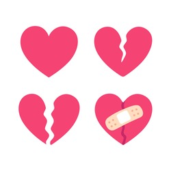 Cartoon broken heart set, crack fixed with bandage. Breakup and heartbreak symbol. Simple flat vector style clip art illustration.
