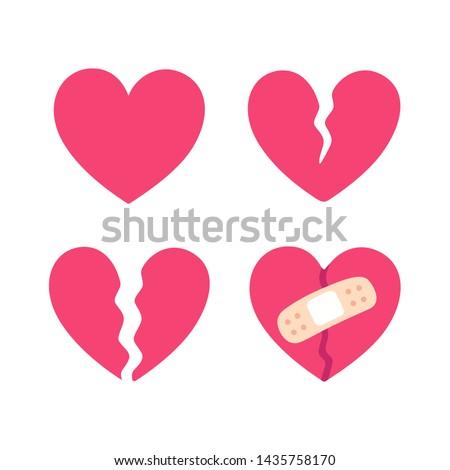 Cartoon broken heart set, crack fixed with bandage. Breakup and heartbreak symbol. Simple flat vector style clip art illustration.  Photo stock ©