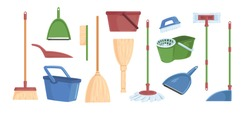 Cartoon brooms scoops, bucket and dust pans set vector graphic illustration. Collection of different colored equipment for indoors cleaning, household tools isolated on white background
