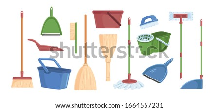 Cartoon brooms scoops, bucket and dust pans set vector graphic illustration. Collection of different colored equipment for indoors cleaning, household tools isolated on white background ストックフォト ©