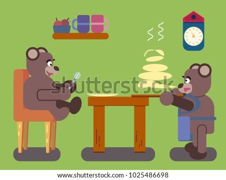 cartoon brown bears prepares