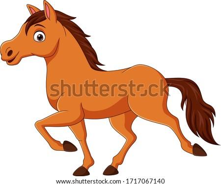 Cartoon brown horse running on white background Foto stock ©