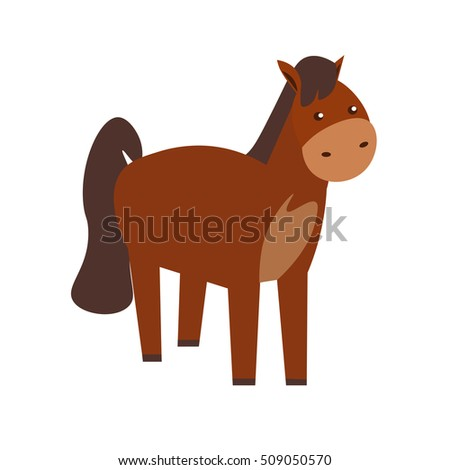 Cartoon Brown Standing Horse or Pony. Funny and Cute icon Flat Design Style character. Vector illustration of farm, domestic or wild animal - mascot
