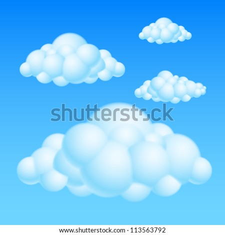 Cartoon Bubble Clouds. Illustration on white background for design