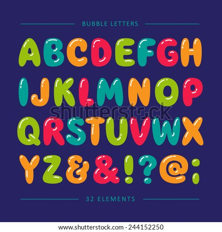 cartoon bubble font colorful