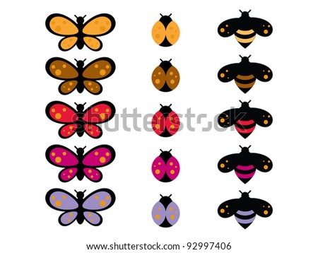 Cartoon Bug Collection. Colorful cartoon bug collection of butterflies, lady bug and bumble bee.