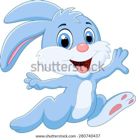 cartoon bunny running and happy