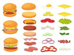 Cartoon burger ingredients. Hamburger, chop bun and tomato. Ham, fresh pickles and cheese slices. Fast food constructor vector illustration set. Sandwich burger and cheeseburger and ingredient