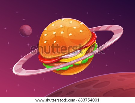 Cartoon burger planet icon on space background. Food space concept. Hamburger vector illustration.