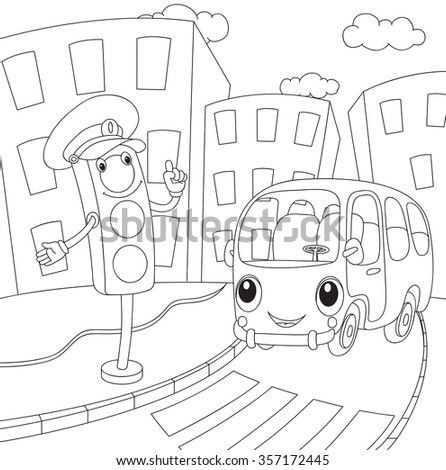 Cartoon bus and traffic lights coloring book for kids for Traffic light coloring pages