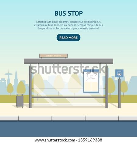 cartoon bus stop card poster ad