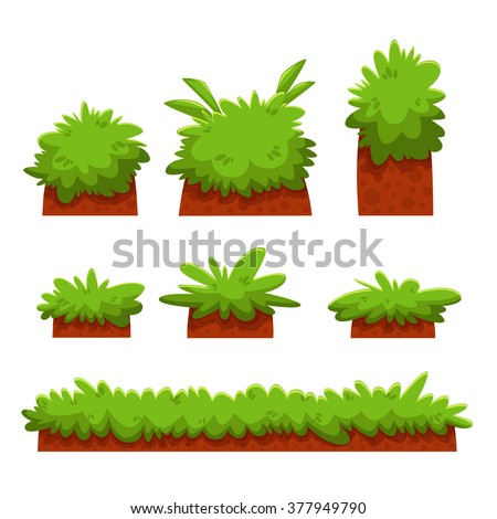 Cartoon Bushes Hedges And Grass Leaves Set Illustration Of A Set Of