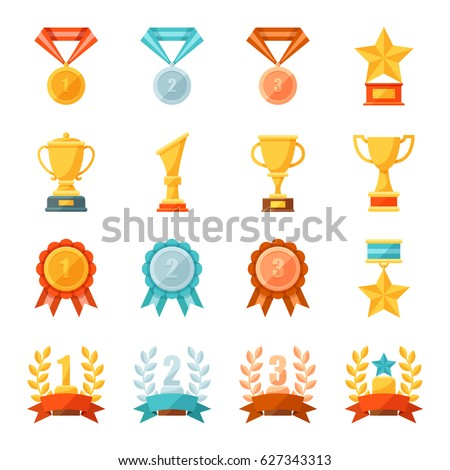 Cartoon business and sport awards and trophy illustration set, Colorful flat vector icons of golden, bronze and silver medals, cups, and bowls, Prize and achievement concept.