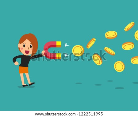 Cartoon business concept businesswoman using a magnet to attracts money for design.