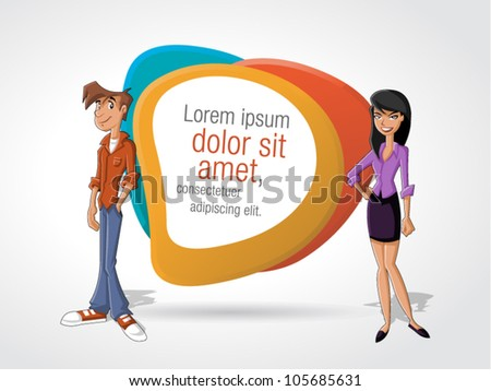 Cartoon business couple and white billboard with empty space. Presentation screen.