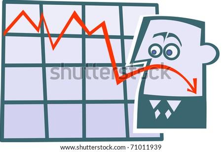 Cartoon business diagram emoticon-sad.
