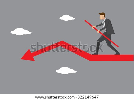 Cartoon business executive character doing sky walking and balancing carefully on declining red arrow. Creative vector illustration on business risk and balancing act concept.