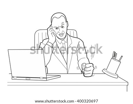 cartoon business man angry with
