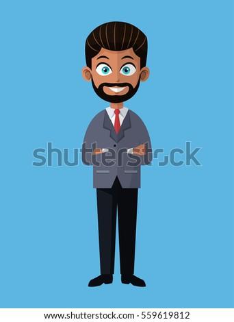 cartoon business man bearded
