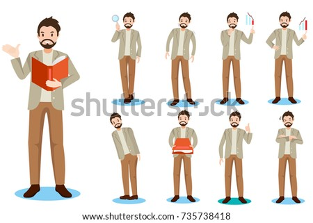 cartoon business man do different thing on white background