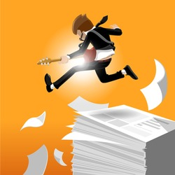 cartoon business man jumping while playing the guitar