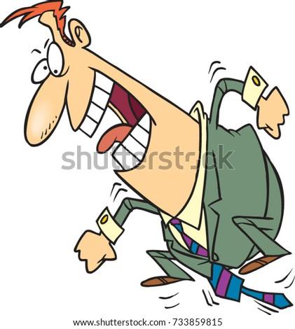 cartoon business man stomping