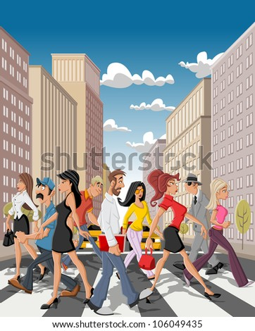 Cartoon business people crossing a downtown street in the city with tall buildings