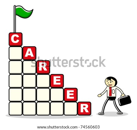 cartoon businessman career - stock vector