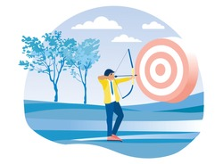 Cartoon Businessman Character Aiming at Flat Target. Employee, Executive Manager Shooting from Bow. Young Man Doing Archery. Business Goal and Accuracy. Vector Motivation Illustration. Natural Design