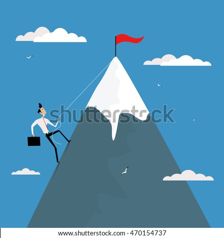 Cartoon businessman climbing mountain with flag on the top. Career development, promotion, achieve goals concept vector illustration. Сток-фото ©