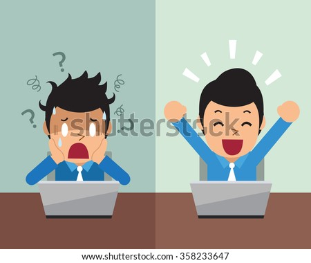 Cartoon businessman expressing different emotions