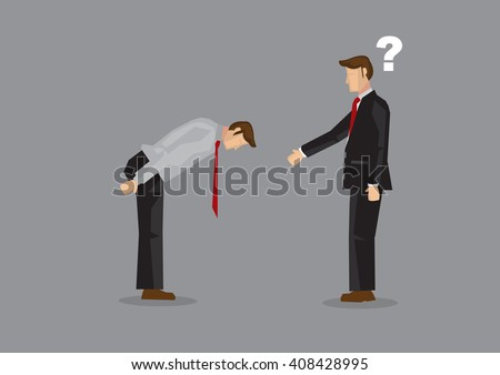 Cartoon businessman extend arm for handshake but was greeted by a full bow. Vector illustration on confusion from cultural diversity in businesses concept isolated on grey background