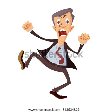 cartoon businessman get angry