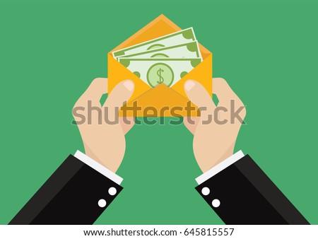 Cartoon, Businessman gets salary., Vector eps10