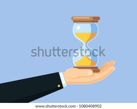 Cartoon businessman hand holding antique hourglass. Time management vector business concept with sand clock. Hourglass countdown in hands businessman, deadline and timer illustration