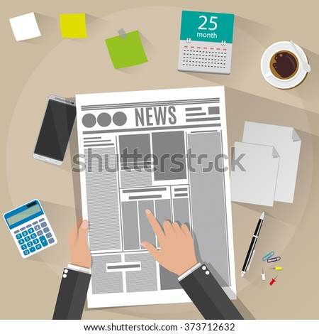 Cartoon businessman hand holding newspaper. Desk with calculator, sticky notes, smartphone, pen, papers, coffee cup, calendar with long shadows. vector illustration on brown background in flat design