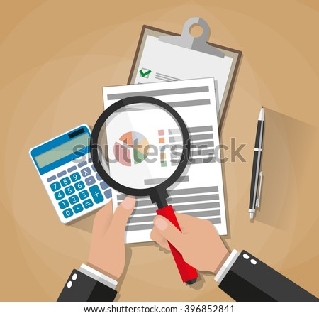 Cartoon businessman hands with magnifier analysis paper sheet, calculator, pen. auditing tax, financial market analysis, seo, financial report. vector illustration in flat design on brown background