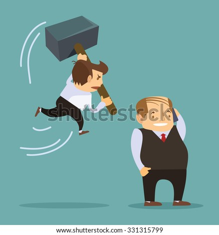 cartoon businessman holding a