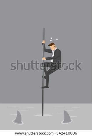 cartoon businessman holding on