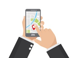 Cartoon , Businessman holding smartphone and touching screen with app map gps navigation., vector eps10